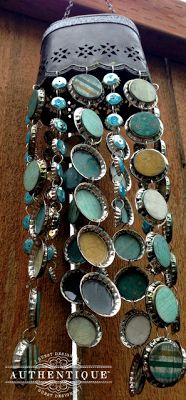 """Fun use of bottlecaps! """"Natural"""" Bottlecap Wind Chime by Authentique Paper Guest Designer Venetia Holbrook"""