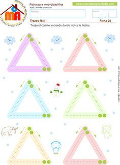 Practicamos trazos de formas triángulares, de arriba hacia abajo y de abajo hacia arriba. Ficha imprimible de motricidad fina para desarrollar.
