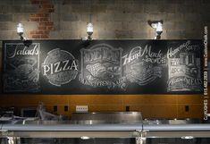 Food industry chalk wall art mural. Hand drawn in a permanent, waterproof medium ideally suited for restaurant and retail installations. M...