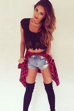 Shay Mitchell style, Pretty Little Liars Emily Fields, Girls Crop Tops, Black Crop Tops, Star Fashion, Love Fashion, Womens Fashion, Shay Mitchell Style, Pretty Outfits, Cute Outfits