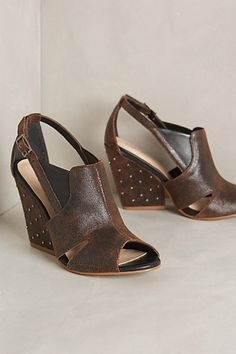 """Palm Grove Wedges #anthropologie  Details By Klub Nico Fits true to size Adjustable buckle Leather upper, insole Synthetic sole 3.75"""" leather wrapped heel Brazil Style #: 30949416"""