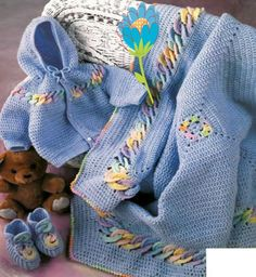 PDF Digital Crochet Pattern Baby Jacket Bootees and Blanket 3-6M and 9-12M Sport Fingering