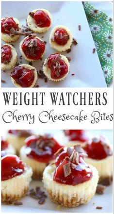 4 FS These Weight Watchers Cherry Cheesecake Bites are simple and perfect for any time of the year. There is only 5 Weight Watchers Smart Points in each serving! Weight Watchers Cheesecake, Dessert Weight Watchers, Plats Weight Watchers, Weight Watchers Diet, Cherry Recipes Weight Watchers, Weight Watchers Cupcakes, Weight Watchers Recipes With Smartpoints, Weight Watchers Appetizers, Weight Watcher Cookies