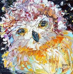 pallette knife paintings of birds   Original oil OWL Bird palette knife painting by Karensfineart