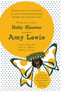 #Baylor Bears Rattle Baby Shower Invitations
