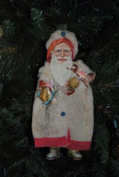 Antique Die Cut Scrap.... Embossed Victorian Christmas Spun Cotton Santa Ornament