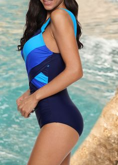 Corriee Womens Tummy Control One Piece Swimsuit Colorblock Plus Size Bathing Suit Beachwear