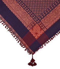 """SIX """"Festival"""" leichtes orientalisches Halstuch Sommerschal mit Muster Ornamenten, Rot, Blau, Apricot Quasten Tasseln (426-696)"""