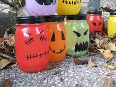 Halloween Painted Jar Luminaries - Crafts by Amanda @Susan Chapman