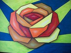 Quadro Rosa Cubismo,Frete Grátis