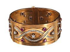 Ruby, Diamond & Gold Cuff Bangle Bracelet {$6,000}