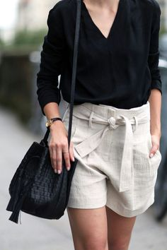 cream shorts and silk black shirt stylish summer combination