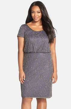 Adrianna+Papell+Embellished+Cap+Sleeve+Blouson+Cocktail+Dress+(Plus+Size)+available+at+#Nordstrom