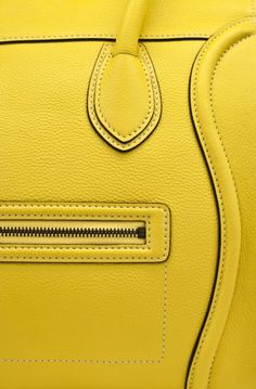 Celine - so beautiful in canary yellow. Lemon Yellow, Green And Orange, Black N Yellow, Color Yellow, Yellow Sun, Bright Yellow, Bright Colors, Neon Bag, Givenchy