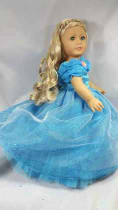 Elegant Cinderella Ball Gown for American Girl or other 18 inch dolls Floral Fabric, Blue Fabric, Satin Fabric, Cinderella Pictures, Dollhouse Design, Fairy Godmother, 18 Inch Doll, Beautiful Patterns