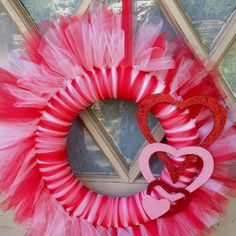 "Valentine Tulle Wreath Super easy and looks adorable! I hung it on my hall closet door. I painted an ""S"" and hung it in the middle :-) Christmas Mesh Wreaths, Valentine Day Wreaths, Valentines Day Decorations, Valentine Day Crafts, Deco Mesh Wreaths, Valentine Ideas, Door Wreaths, Ribbon Wreaths, Yarn Wreaths"