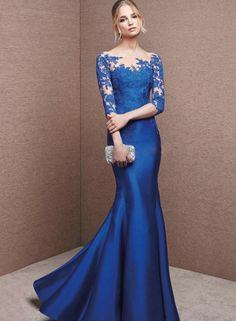 Women's Lace Maxi Mermaid Evening Dress NOVASHE.com