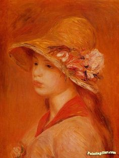 Portrait of a Young Girl Artwork by Pierre Auguste Renoir Hand-painted and Art Prints on canvas for sale,you can custom the size and frame