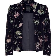 8be50b7e654 Black Velvet Floral Embroidered Blazer (190 PEN) ❤ liked on Polyvore  featuring outerwear