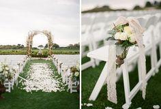 Wedding Ceremony, Lace & Flower Aisle Decor, via Troy Grover Photography