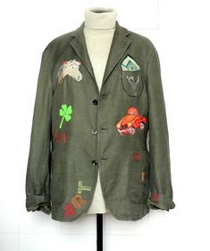 Man/unisex L fancy jacket froufrou by hand embroider mixture linen and cotton.