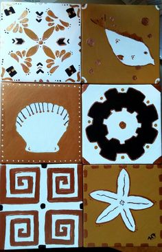 Greek inspired tiles decorated with acrylic paints