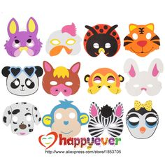 12PCS Assorted EVA Foam Animal Masks for Kids Birthday Party Favors Dress Up Costume Zoo Jungle Party Supplies