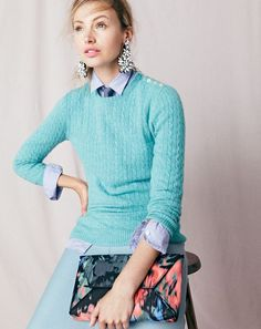DEC '15 Style Guide: J.Crew women's Collection Italian cashmere mini-cable sweater, boy shirt in end-on-end cotton, A-line midi skirt, fabric-backed crystal cluster earrings, envelope clutch in floral splash and men's chambray tie.
