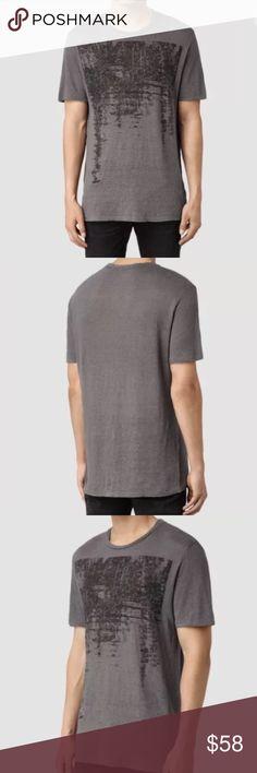 "AllSaints's Men's Mirage T Shirt AllSaints Mens Mirage SS Crew T Shirt Size: Large Color: Slate/Bk Fabric: 100% Linen Shoulder to shoulder 19 1/2"" Chest 21"" Length 29 1/2"" NWT Sold Out Item All Saints Shirts Tees - Short Sleeve"