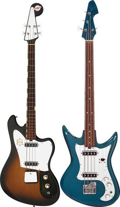 Teisco Del Rey Basses - EB-200 (left), EB-220 Deluxe (right)