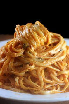 Extremely Creamy Tomato Alfredo Linguine recipe. My most requested sauce - hands down.