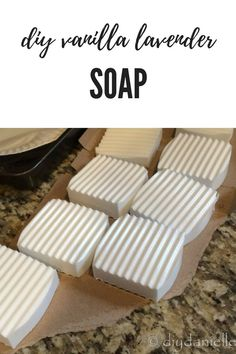 How to make vanilla lavender soap. Soap bars set out to dry.