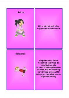 Barnyoga kort. Learn Swedish, Swedish Language, Massage, Yoga For Kids, Back To School, Education, Learning, Health, Buxus