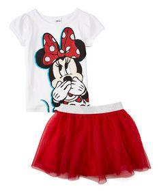 White & Red Minnie Top & Skirt - Girls
