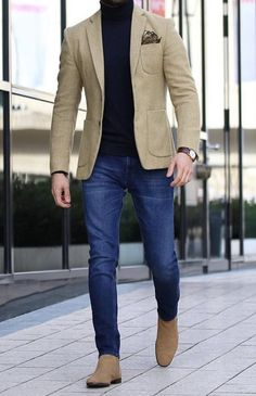 Men casual styles 709668853764535650 - Men Style Outfits Every Guy Should Look at for Inspiration Nice Loking Casual Blazer for Men with Jeans 1 Source by ladysmithstreethockey Best Business Casual Outfits, Outfits Casual, Stylish Mens Outfits, Business Casual Men, Mode Outfits, Style Outfits, Dress Casual, Casual Pants, Fall Outfits