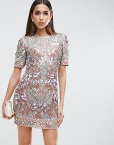 ASOS RED CARPET Premium Showtank Embellished Shift Mini Dress