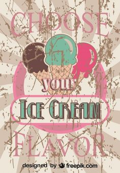 Retro Ice Cream Poster Design Favorite Flavor
