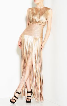 Posh Girl Swing Out Babe Gold Maxi Dress A  very chic, sexy and modern design dress  foil print  bandage construction, v-neckline with fringe all around  maxi length, back zipper. MSR: $598.00