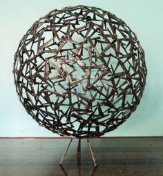 By-Corey-Ellis-COA-Brutalist-Abstract-Ball-Sculpture-Modern-Bowie-Evans-MCM-ART
