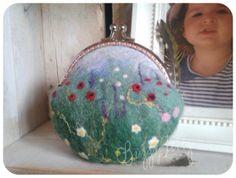 Kiss clasp meadow coin purse. change purse. hand by BuzzyFeltz, £27.00