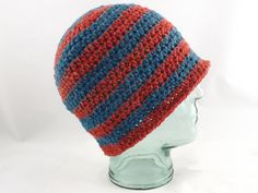 stripy wool beanie, crochet hat, winter hat, Scottish wool hat, blue and red, colourful warm hat, unisex hat, knit hat, adult beanie, rustic by MissSnowdrop on Etsy