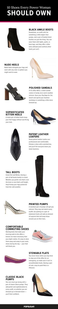 Choosing the perfect work shoes is as important as choosing your work outfits to send the right message. And here're the 10 shoe types to consider!
