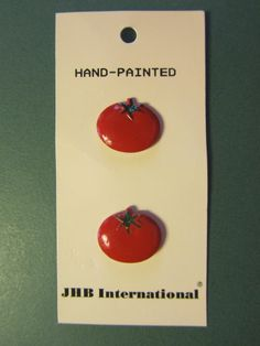 """2 -  5/8"""" HAND PAINTED JHB RED TOMATO SHANK BUTTONS - VINTAGE Lot #JHB53"""