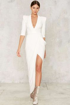 Zhivago Eye of Horus Slit Dress - White - Clothes | Best Sellers | Last Chance | Cocktail Dresses | Maxi Dresses | White Dresses | Party Clothes