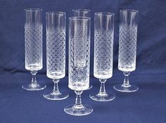 Set of 6 vintage Rosenthal Romance I Crystal Champagne Flute Wiinblad, Glassware Crystal Champagne, Champagne Flutes, Vintage Glassware, Rose Design, China Dinnerware, Container, Romance, Pottery, Crystals