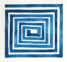 Original Watercolor Painting Modern Art Abstract Geometric Blue and White Drawing Greek Key Colorful Minimal Kids Blue Painting Mod 11 x 11