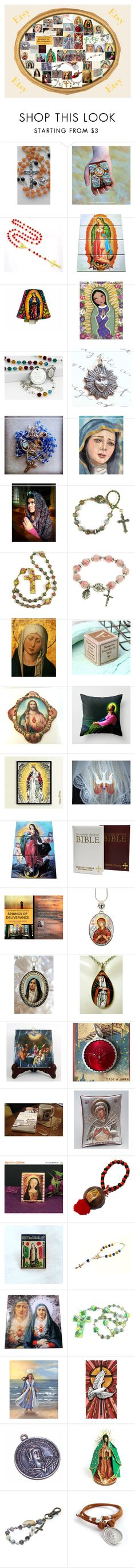"""Catholic Etsy"" by brianna-anzalone on Polyvore featuring interior, interiors, interior design, home, home decor, interior decorating and Religion Clothing"