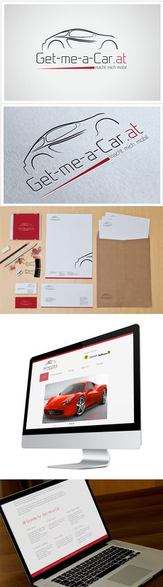 Auftragsarbeit für get-me-a-car.at Logodesign, Geschäftsausstattung, Website