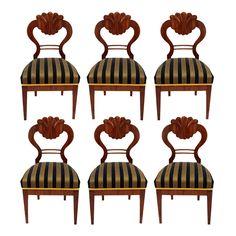 Set of Six Biedermeier Chairs in Walnut