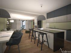 Urzadzanie wnętrz kuchni otwartej na salon w domu jednorodzinnym. Urządzona strefa jadalni z przestronnym stołem. Duża wyspa dla przygotowania posiłków jak również do szynkich posiłków czy wypicia kawy z przyjaciółmi. Skorzystaj z naszego poradnika o urządzaniu wnętrz. Conference Room, Table, Furniture, Home Decor, Decoration Home, Room Decor, Tables, Home Furnishings, Home Interior Design